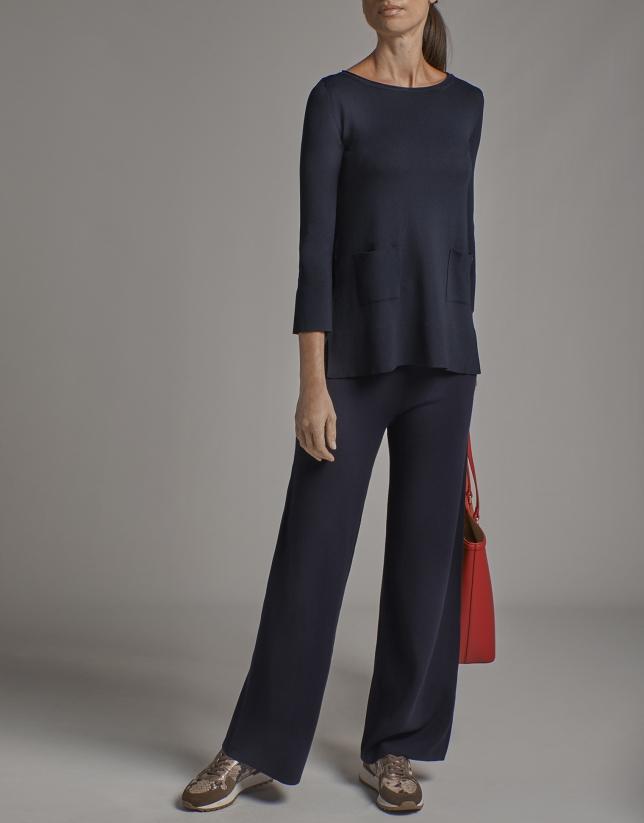 Pantalón pierna ancha de punto azul