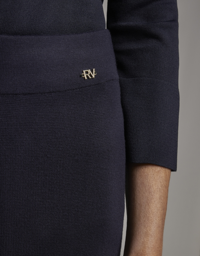 Blue knit, bell bottom pants