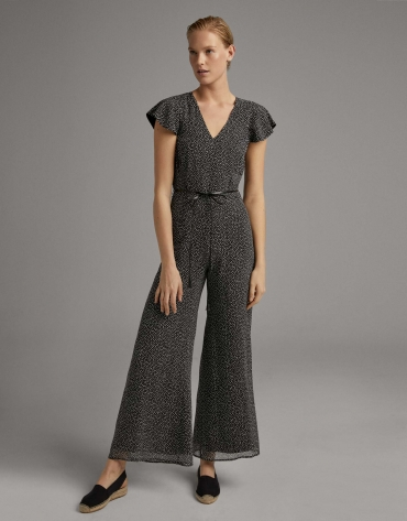 Black print loose jumpsuit