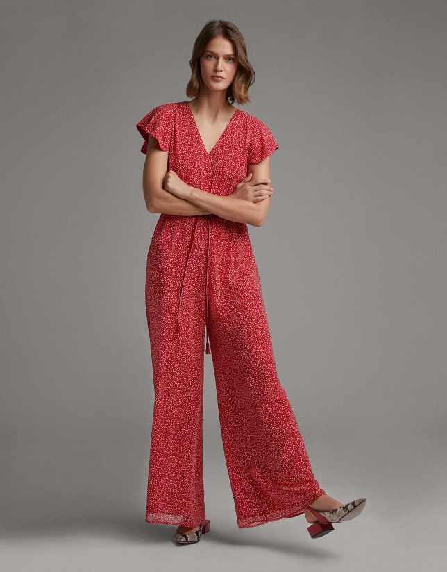 Red print loose jumpsuit