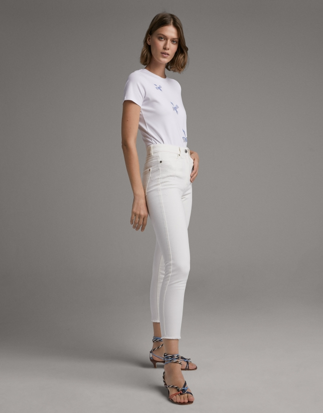 White straight cotton pants