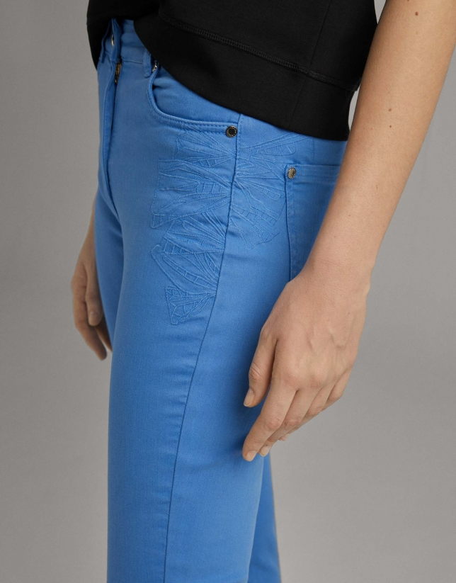 Blue straight cotton pants