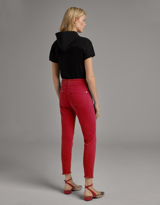Burgundy straight cotton pants