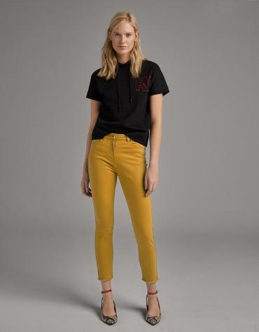 Pantalón algodón recto amarillo