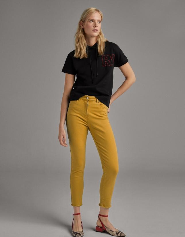 Yellow straight cotton pants