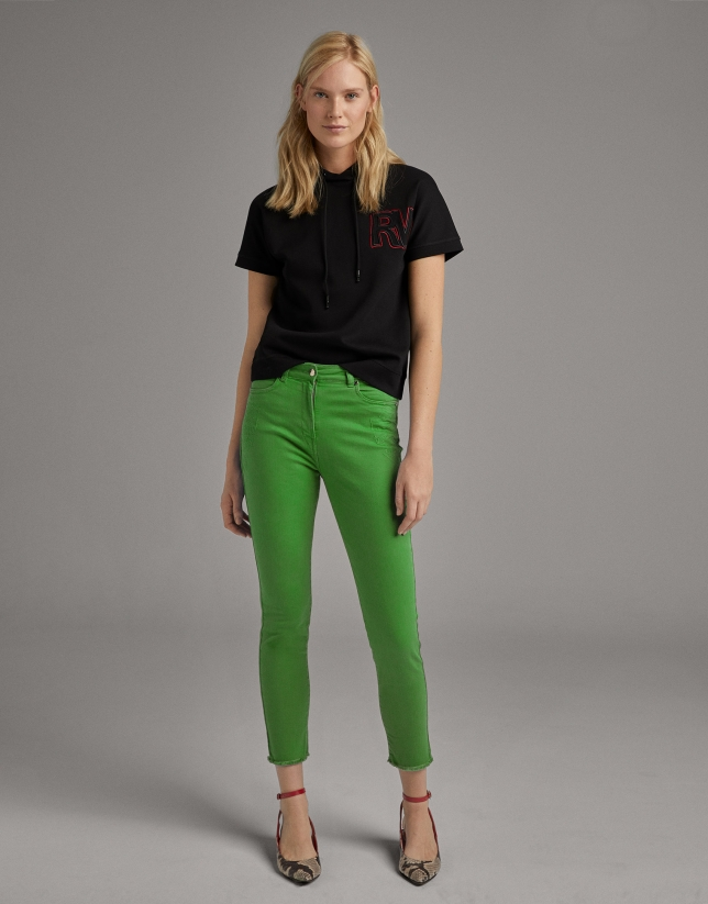 Green straight cotton pants
