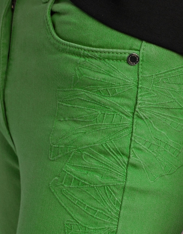 Green straight cotton pants