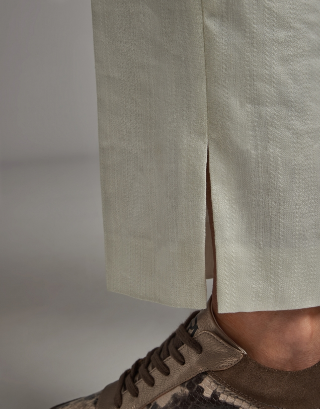 Ivory jacquard ankle-length pants