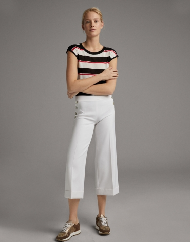 White wide-leg pants with high waist