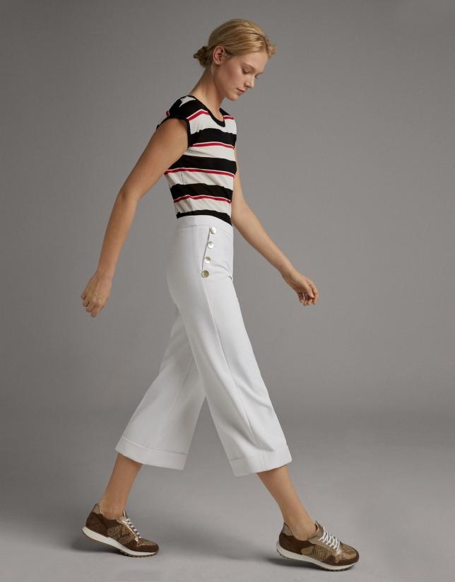 Pantalón pierna ancha y cintura alta blanco