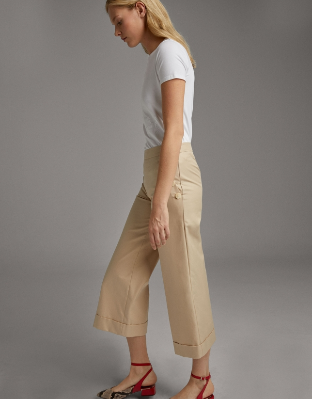 Vanilla wide-leg pants with high waist