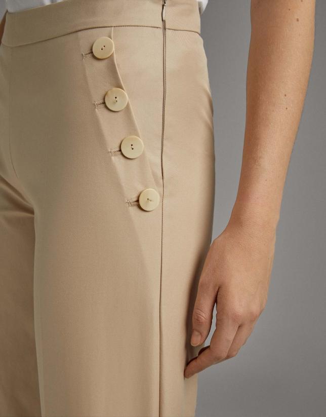 Pantalón pierna ancha y cintura alta vainilla