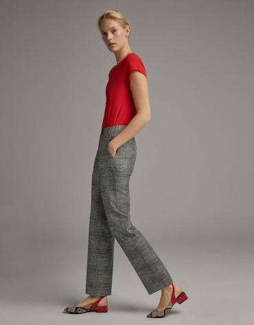 Straight black and burgundy glen plaid pants