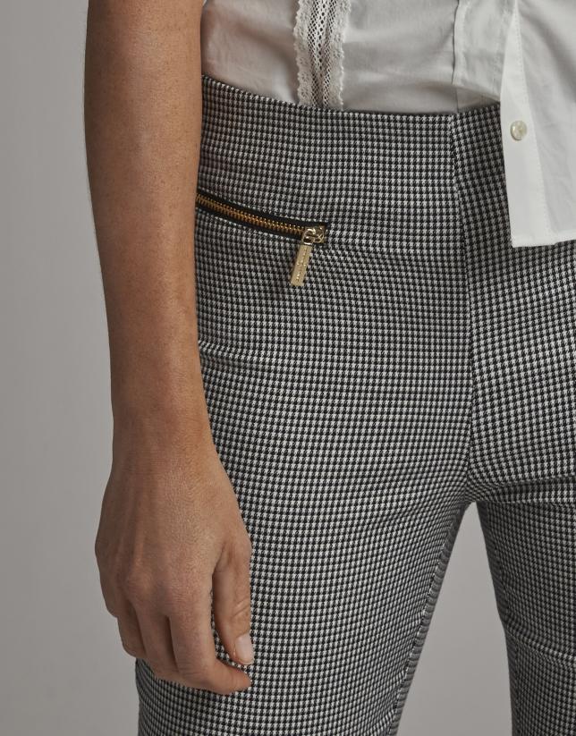 Black houndstooth knit cigarette pants
