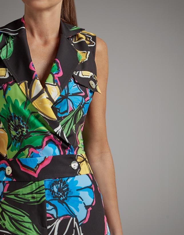 Black jumpsuit with floral print