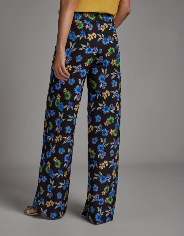 Pantalón recto estampado floral
