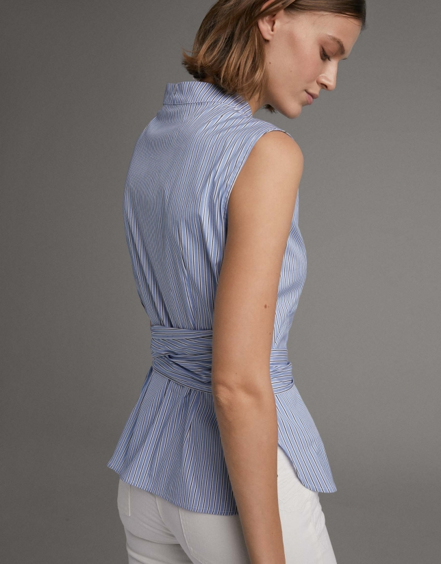 Blue striped shirt with bow at waist