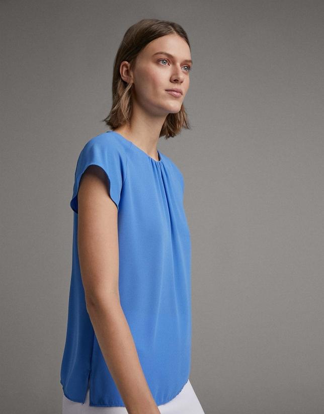 Blusa manga corta ranglan azul