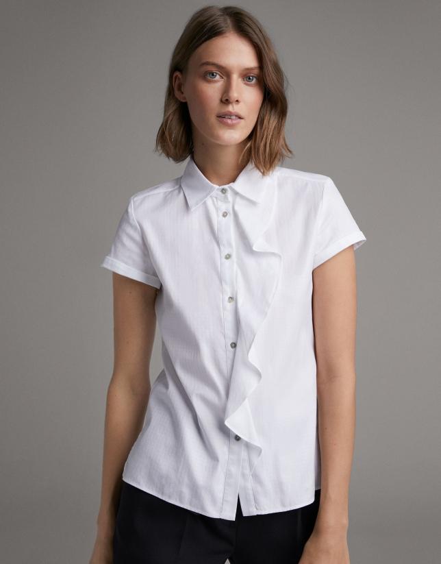 Camisa manga corta blanca con volante