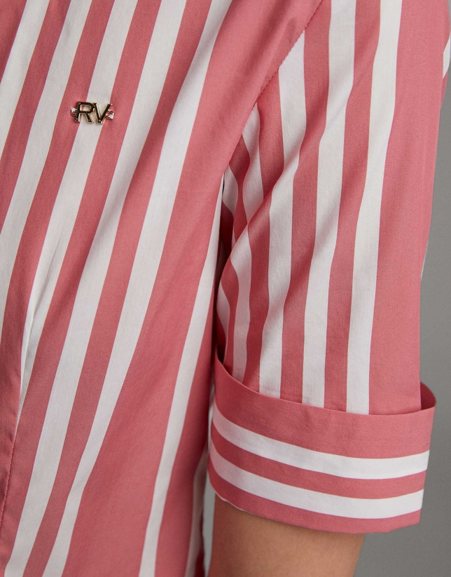Red striped shirt with short sleeves