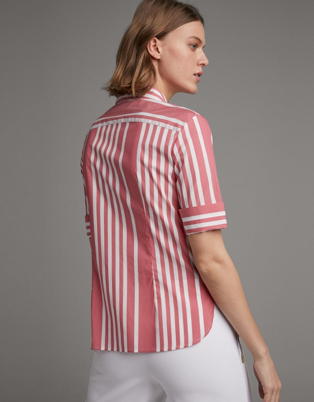 Camisa rayas manga corta carmín