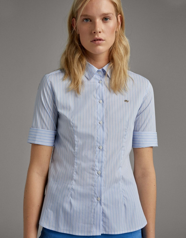 Ultramarine blue striped shirt with short sleeves