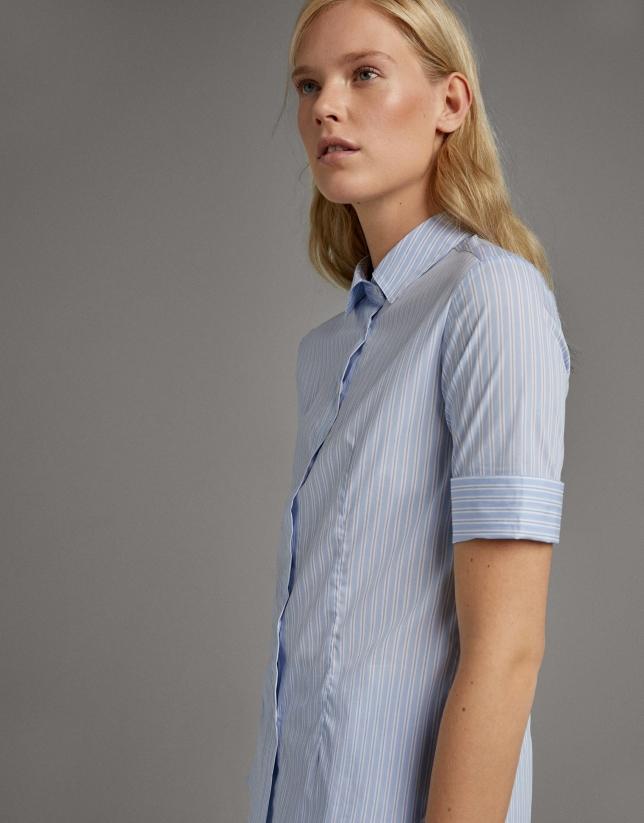 Camisa rayas manga corta azul ultramar