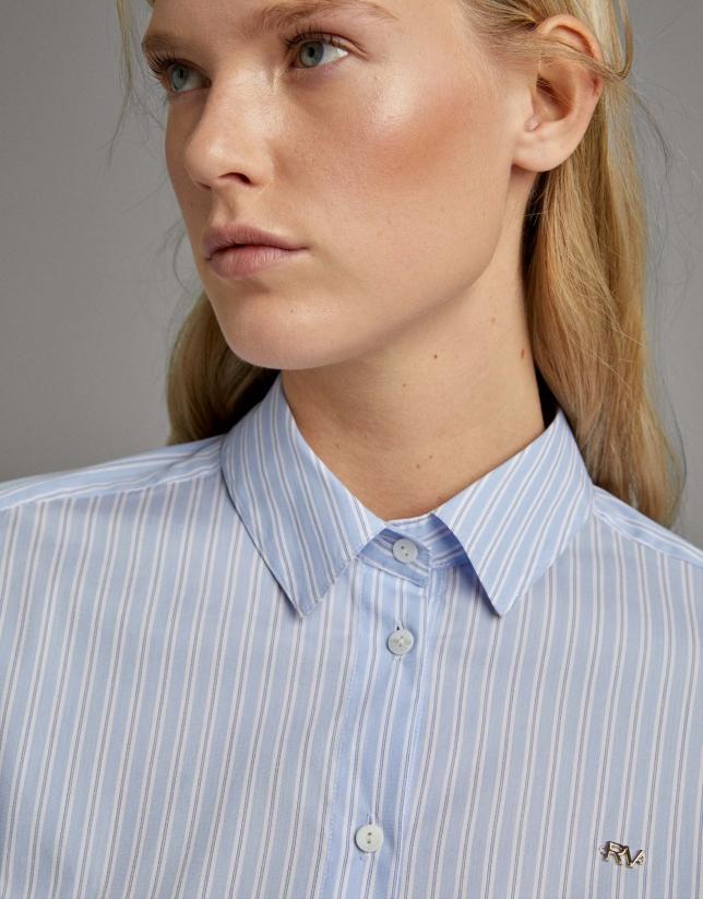 Camisa rayas manga corta azul