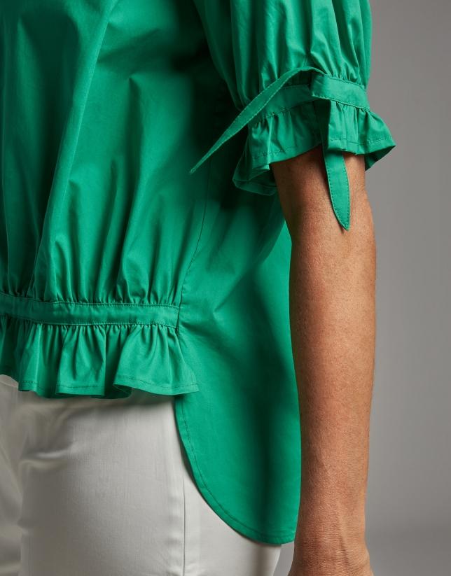 Blusa asimétrica abullonada verde