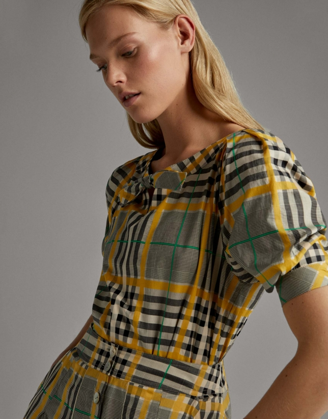 Green glen plaid shirt with boat neck and bow