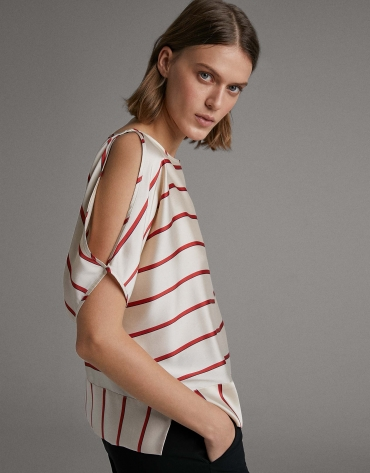Red shirt with horizontal stripes and boat neck