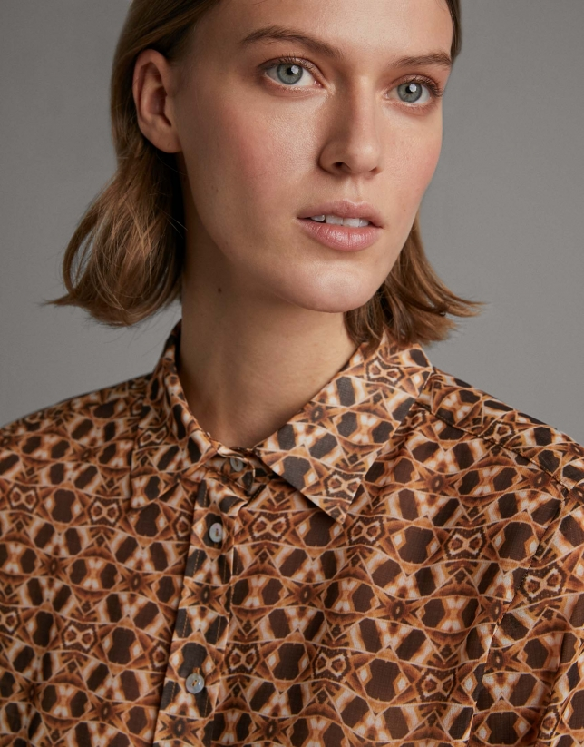 Brown ethnic print shirt with long sleeves