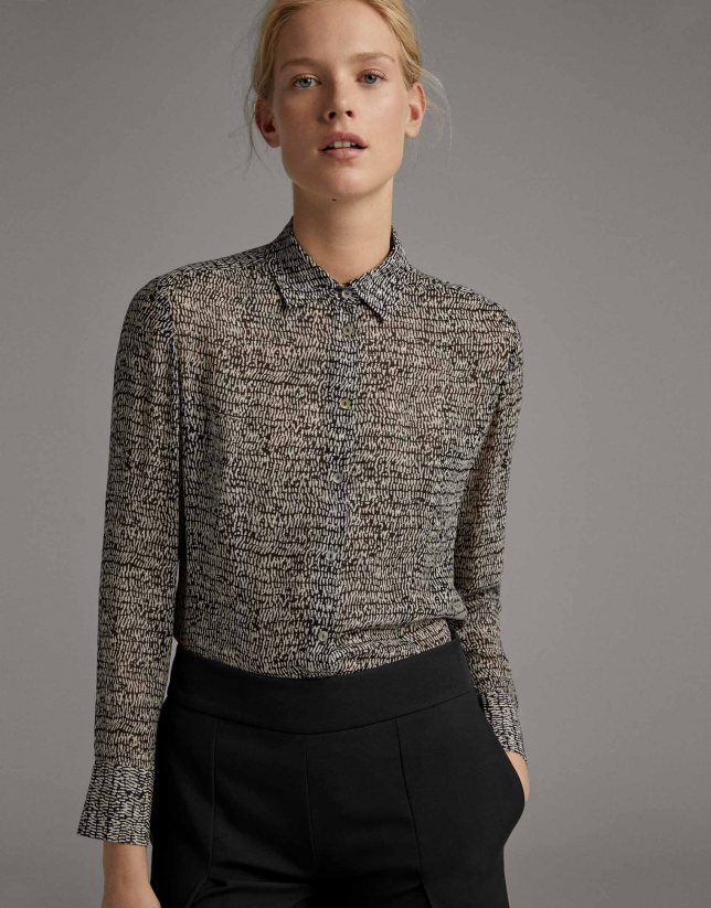 Black and white print flowing shirt with long sleeves