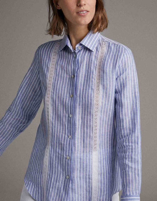 Blue men's shirt with lace appliqué