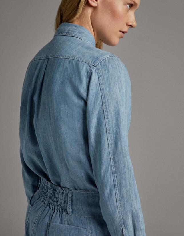 Blue denim men's shirt