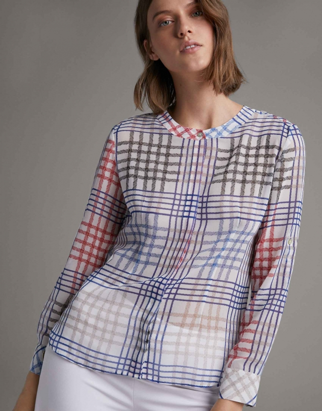 Multicolor checked shirt with long sleeves