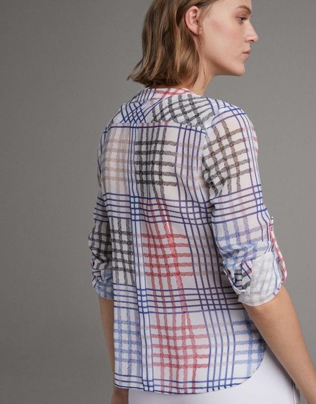 Camisa manga larga cuadros multicolor