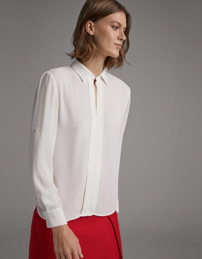 Camisa manga larga crudo con tablillas