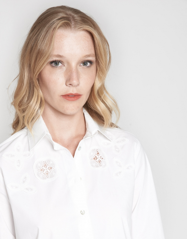 White men's shirt with matching lace