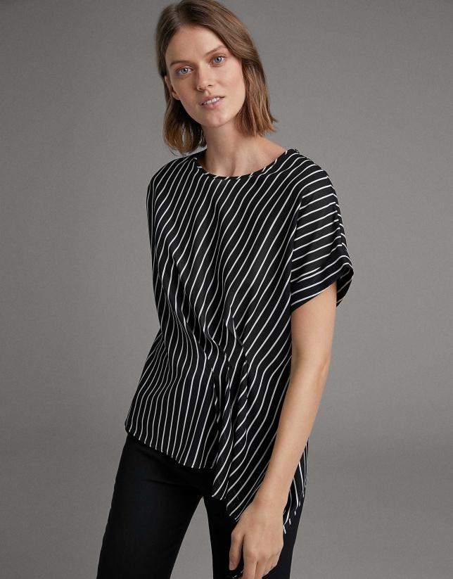 Black pin-striped asymmetric shirt