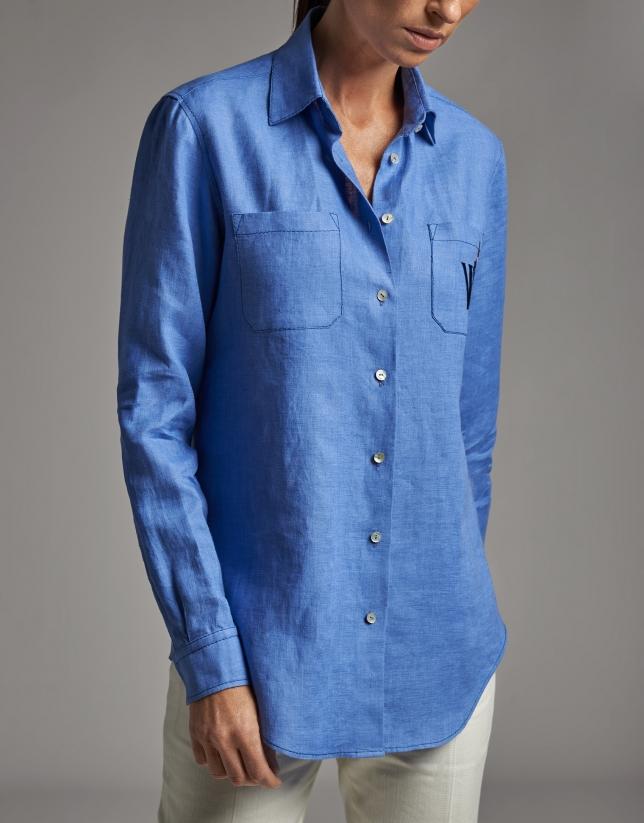 Camisa masculina de lino azul