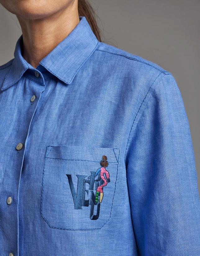 Blue linen men's shirt