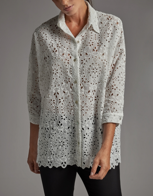 White oversize shirt with English embroidery