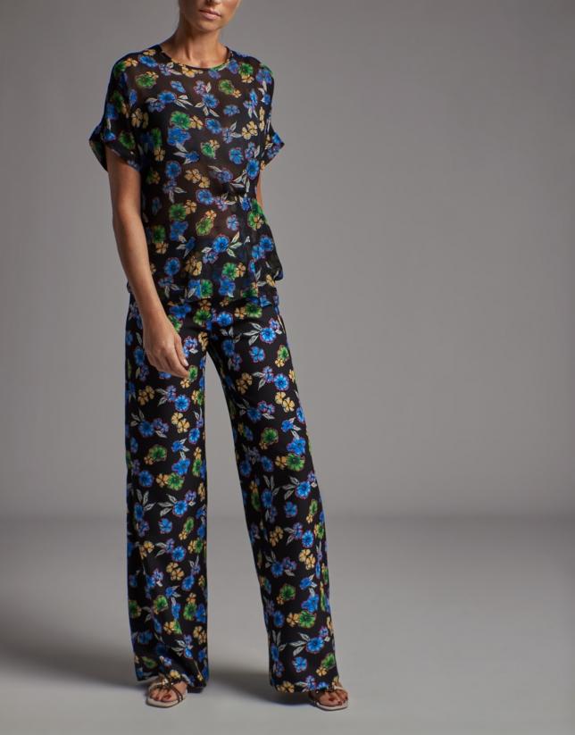 Black asymmetric shirt with floral print