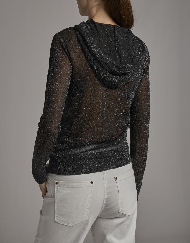 Black lurex transparent sweatshirt