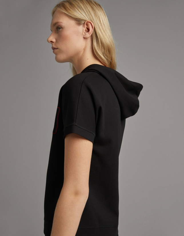 Black hooded sweatshirt with short sleeves
