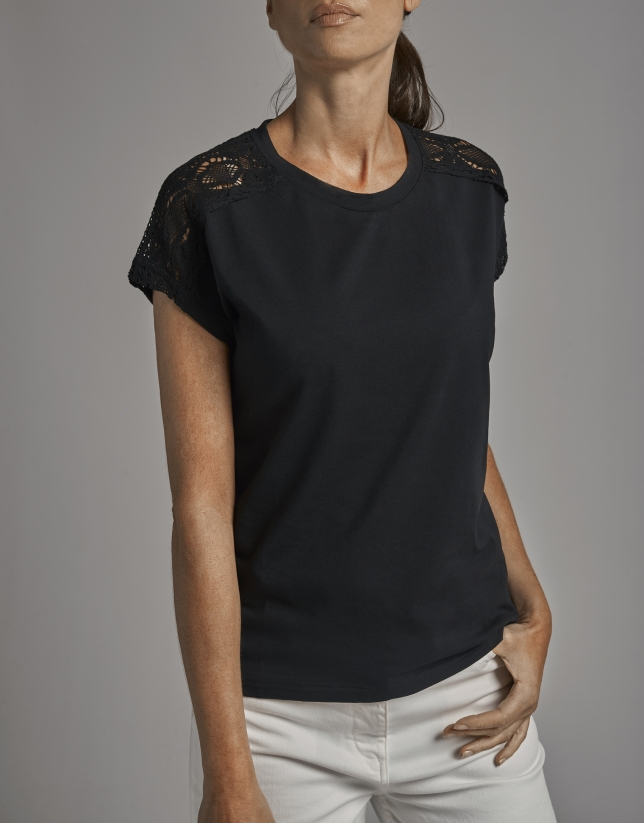 Black short-sleeve top with chantilly lace