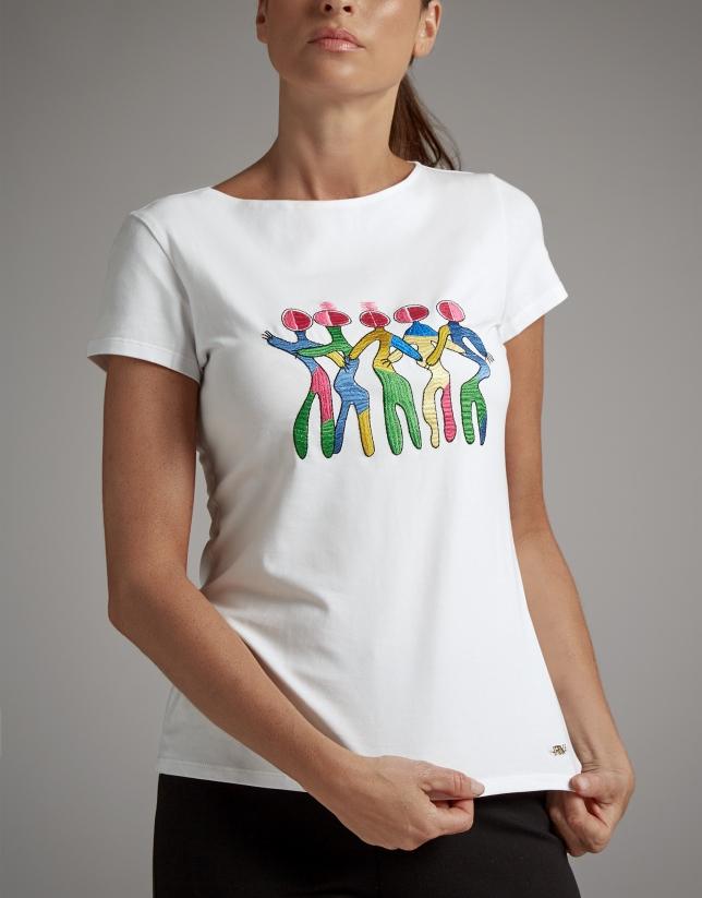 Camiseta blanca con estampado bailarinas