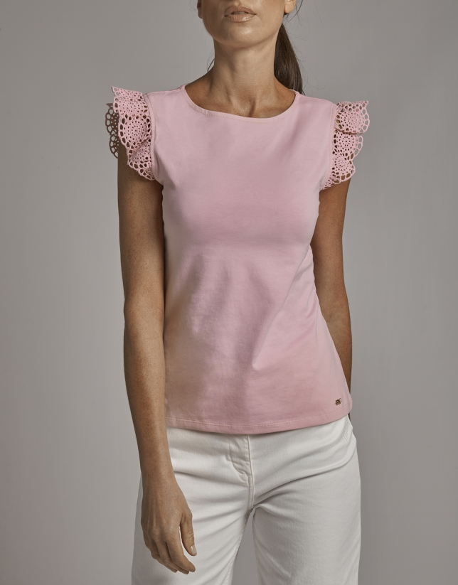 Pink top with flounce sleeves and lace