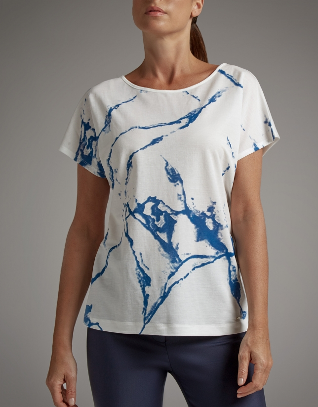 Ultramarine blue top with marble print